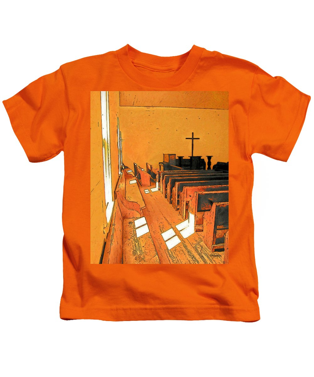 Rebecca Korpita Kids T-Shirt featuring the photograph Primitive Church - Sunday Morning by Rebecca Korpita