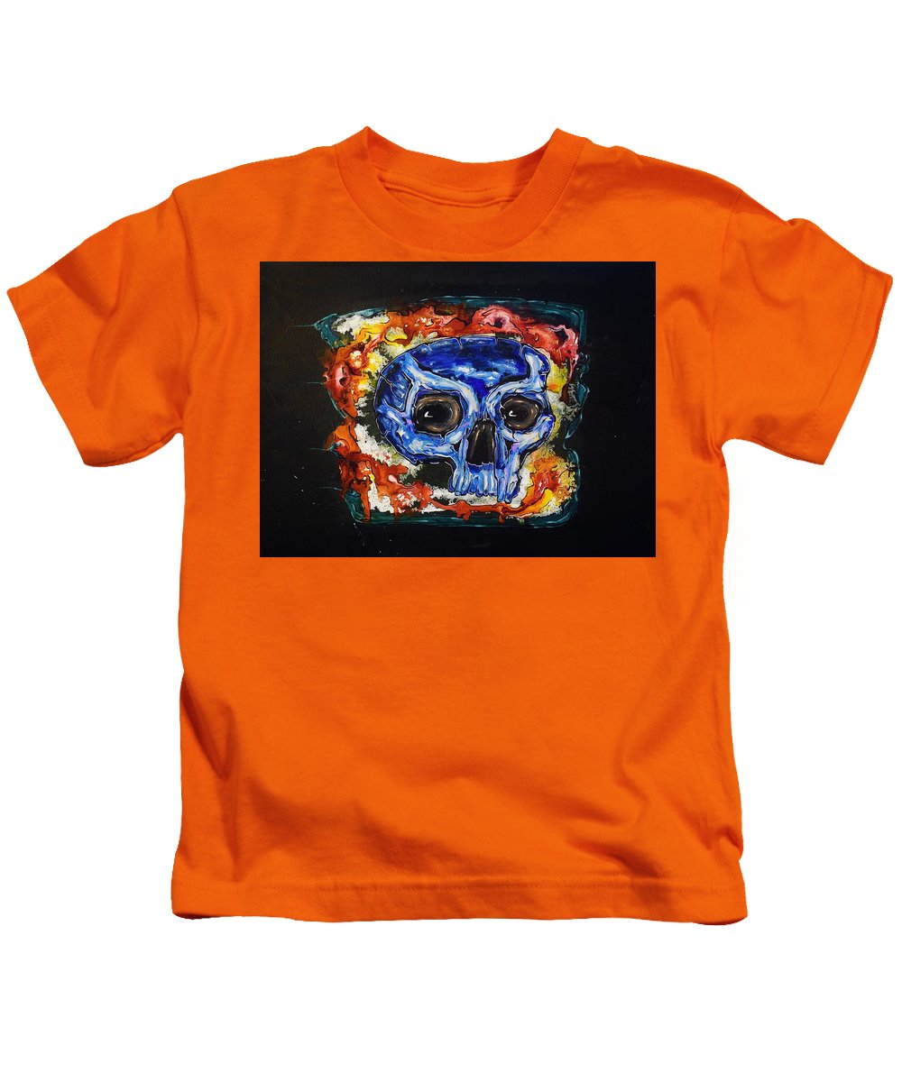 Skulls Kids T-Shirt featuring the painting Primordial Portraits 10 by David Buschemeyer