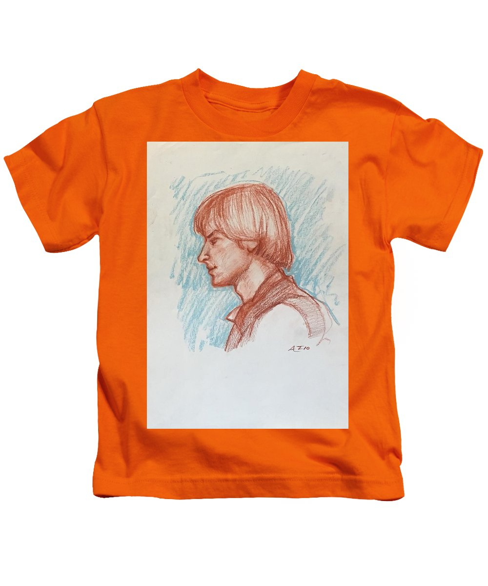 Kids T-Shirt featuring the drawing Profile Of Youth by Alejandro Lopez-Tasso