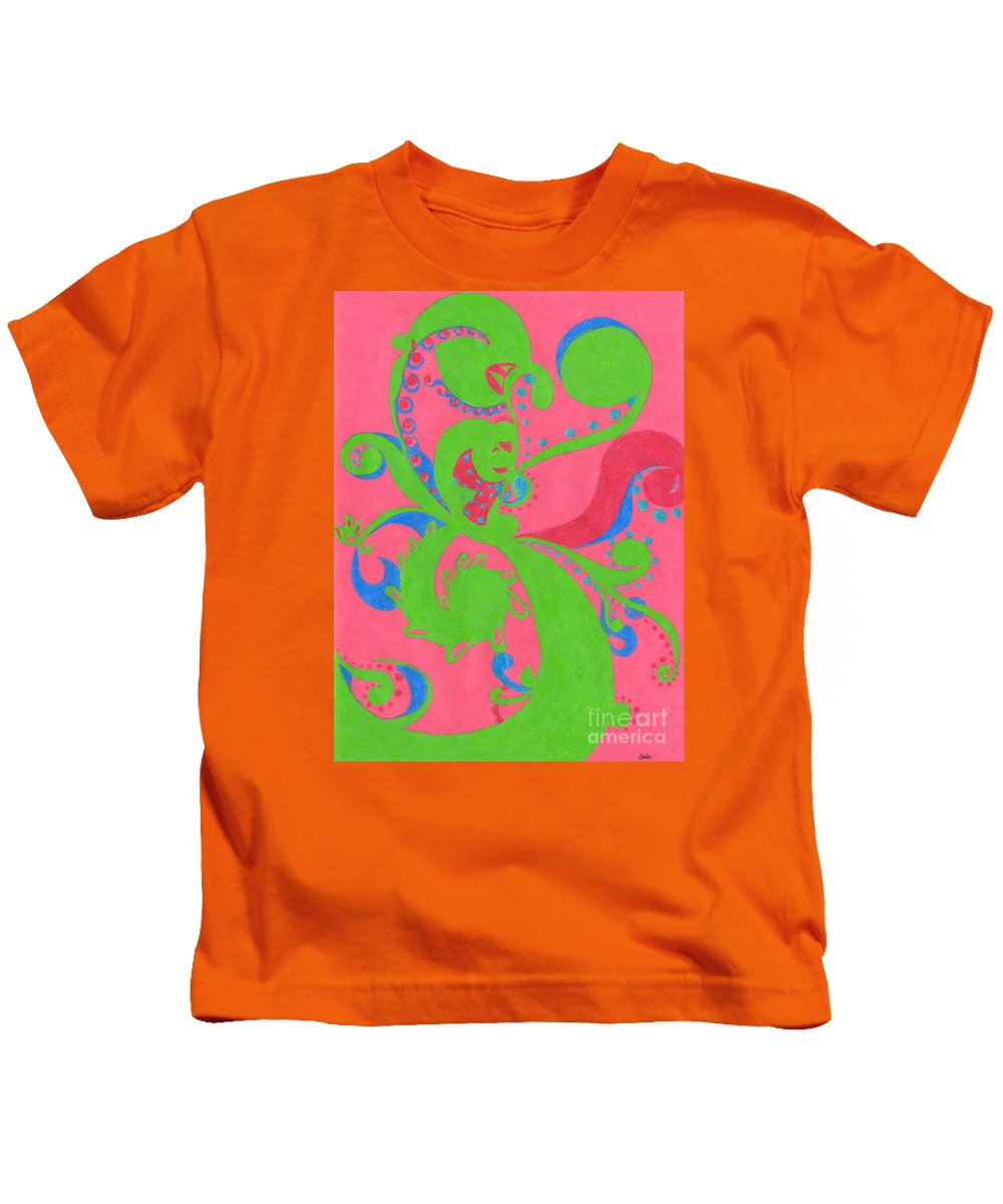 Color Kids T-Shirt featuring the drawing Prosperity by Kim Sy Ok