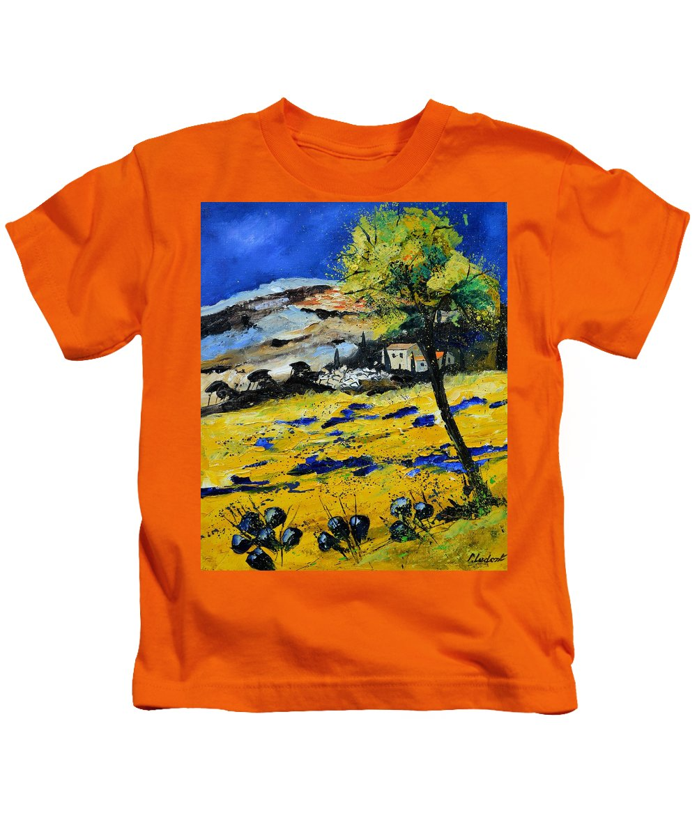 Landscape Kids T-Shirt featuring the painting Provence 5661 by Pol Ledent