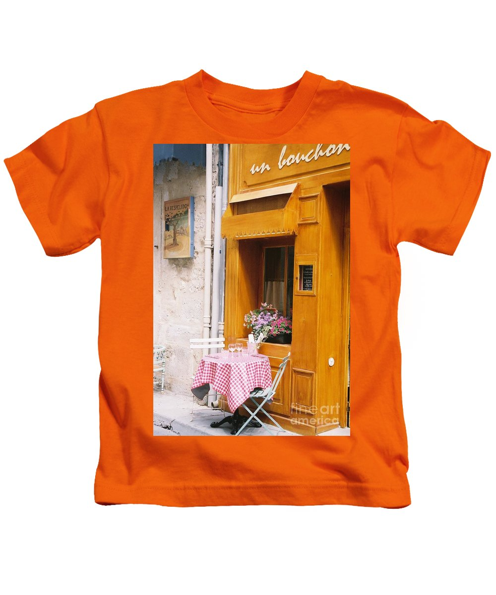 Cafe Kids T-Shirt featuring the photograph Provence Cafe by Nadine Rippelmeyer