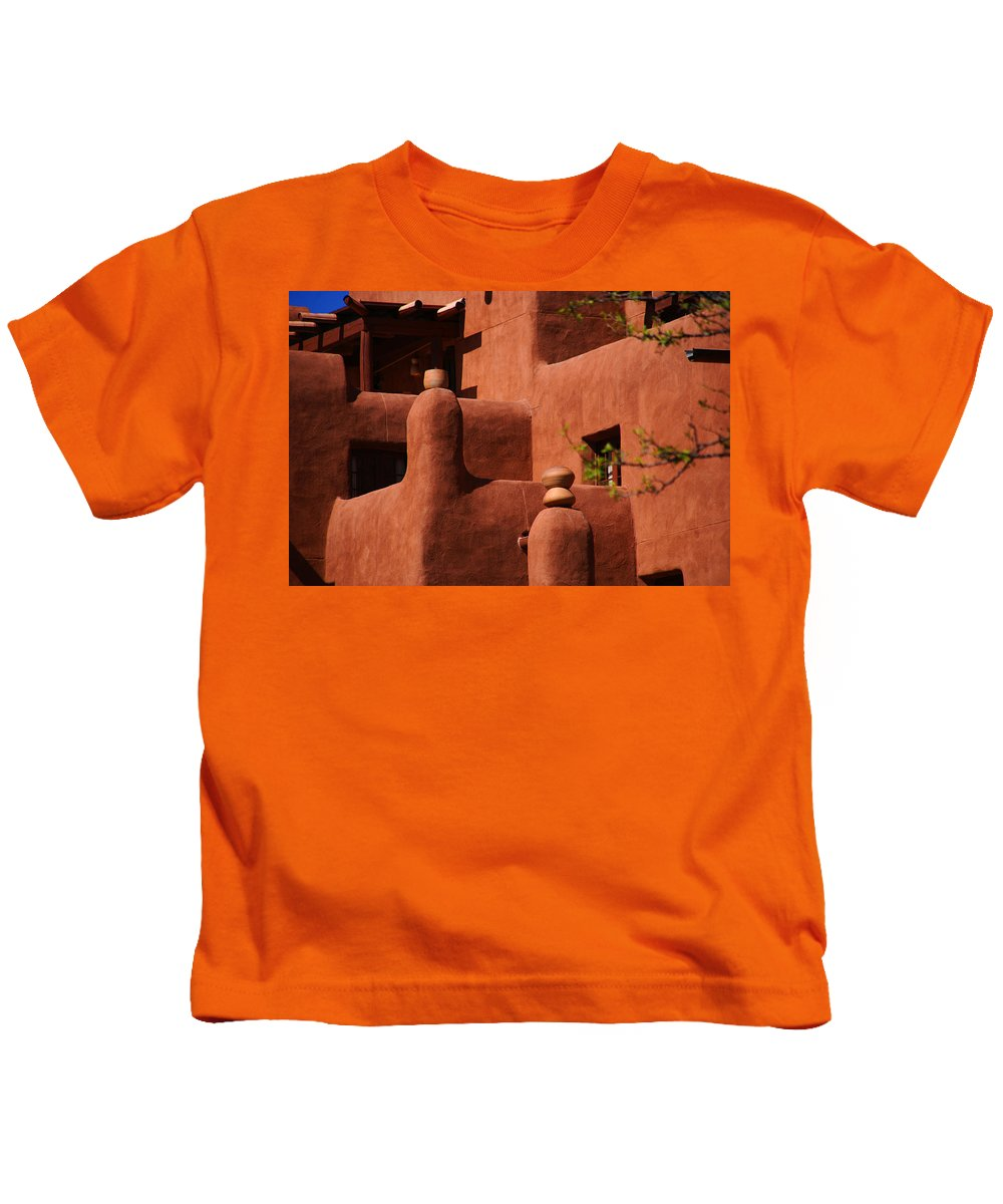 Pueblo Revival Style Architecture Kids T-Shirt featuring the photograph Pueblo Revival Style Architecture II by Susanne Van Hulst