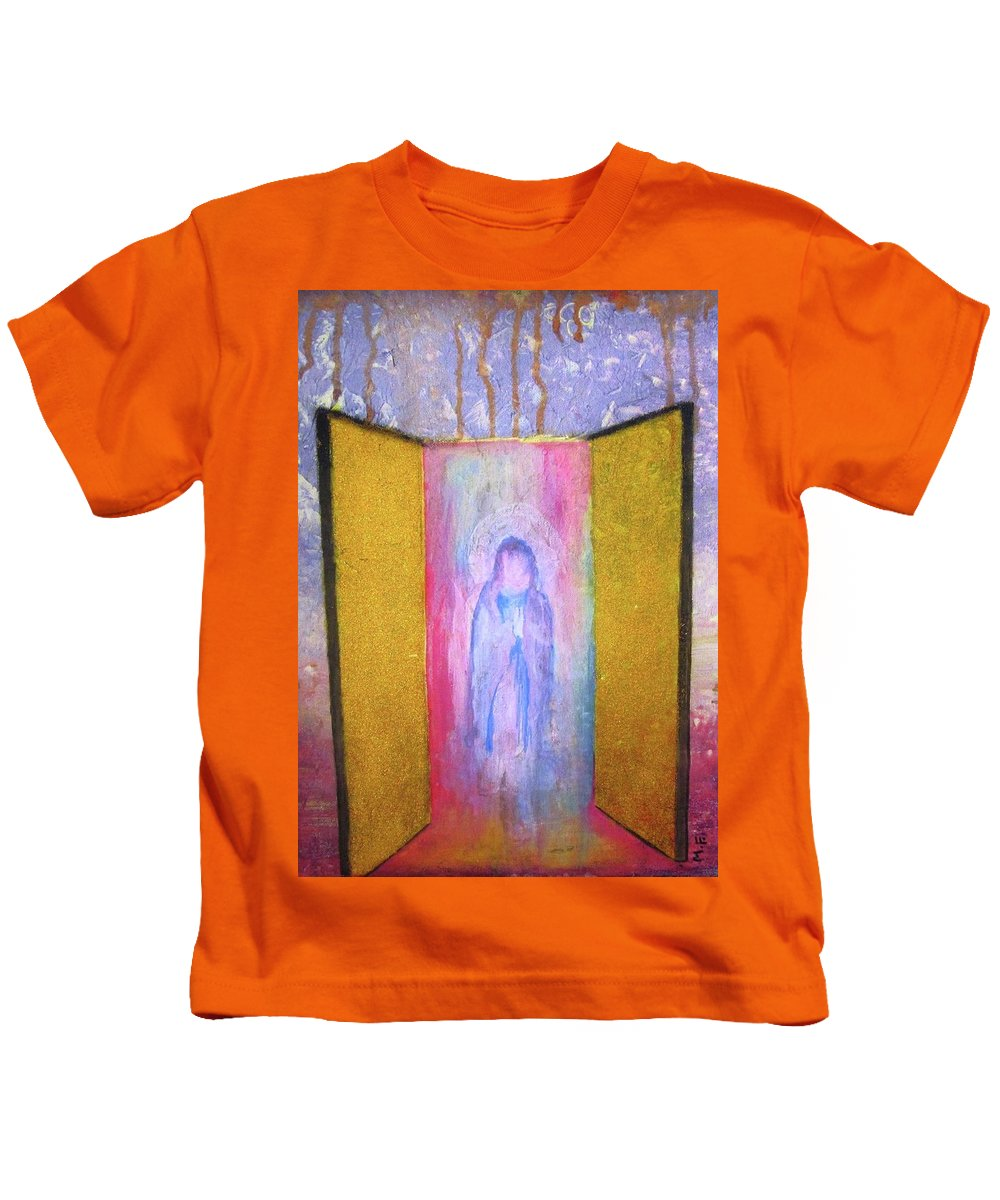 Original Mixed Media Painting Kids T-Shirt featuring the painting Queen Of Heaven by Mary Ellen Frazee
