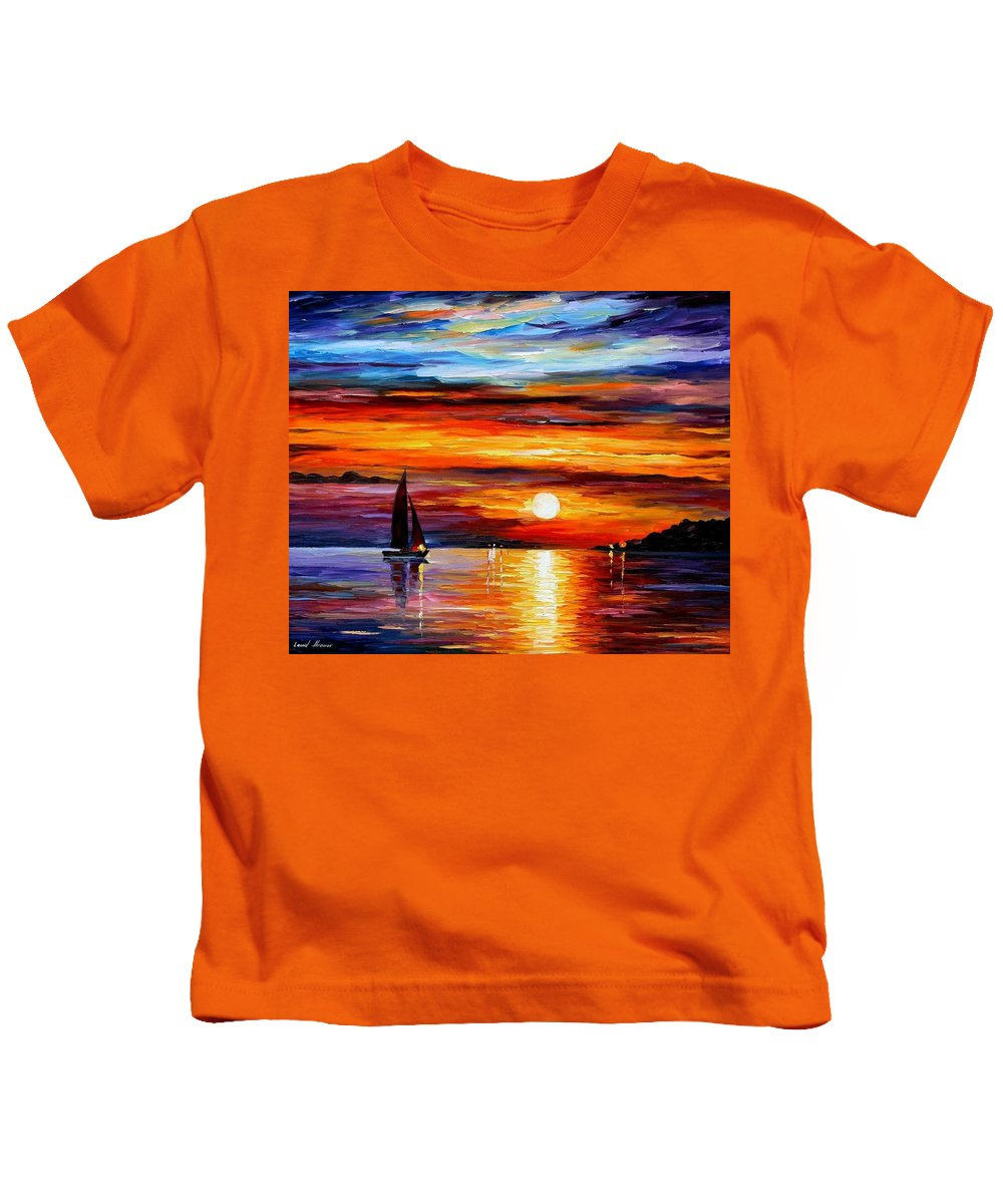 Afremov Kids T-Shirt featuring the painting Quiet Sunset by Leonid Afremov