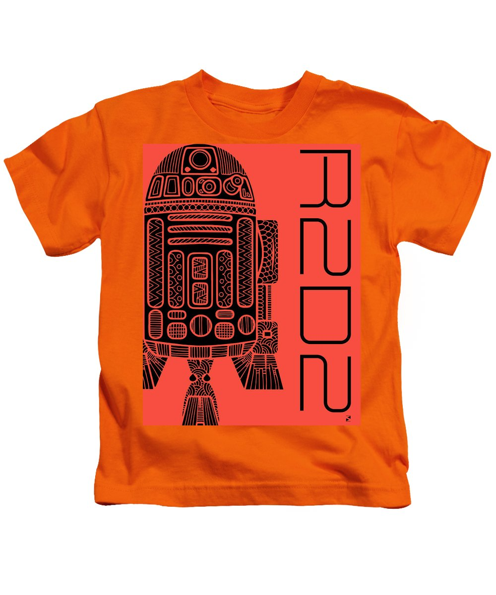 R2d2 Kids T-Shirt featuring the mixed media R2d2 - Star Wars Art - Red by Studio Grafiikka