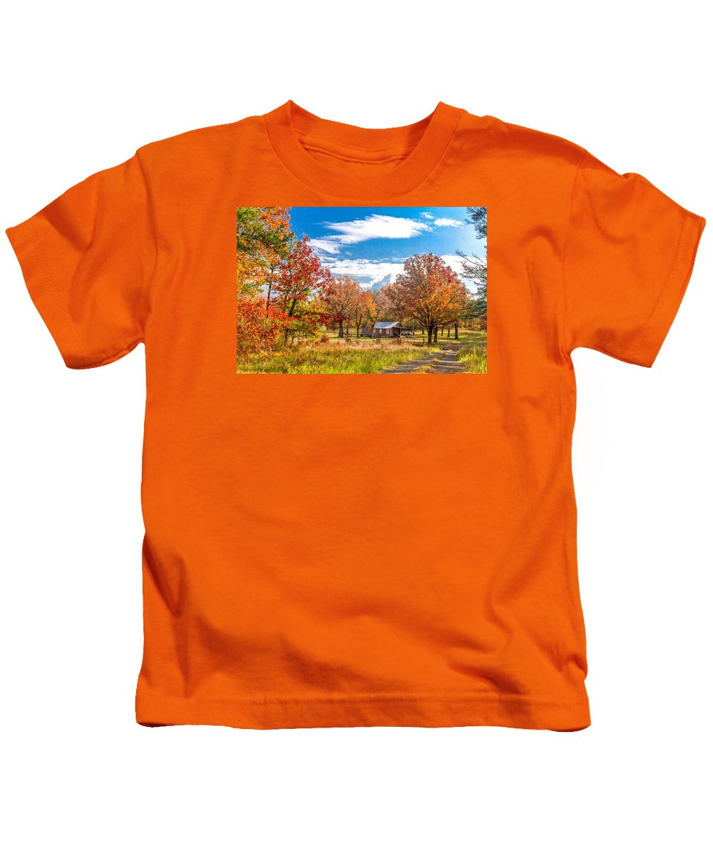 Fall Colors Photographs Kids T-Shirt featuring the photograph Rabbit Hollow by Leroy McLaughlin