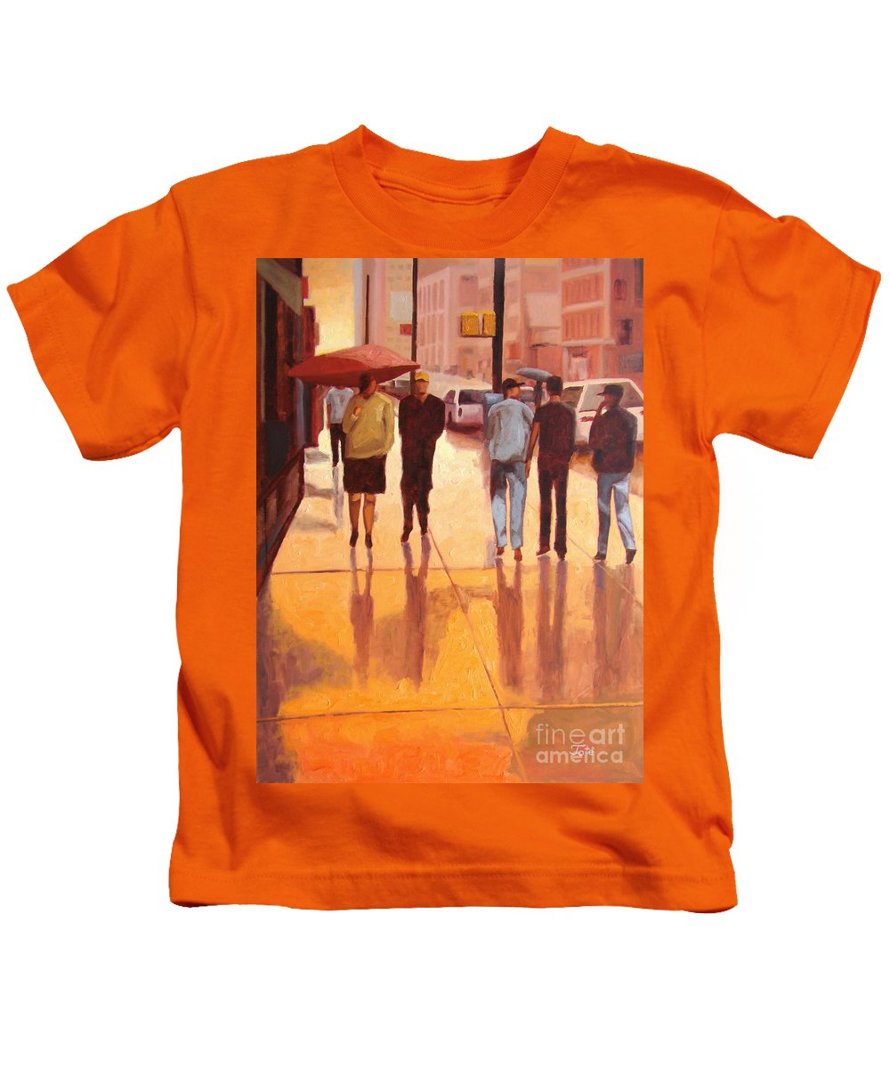 Manhattan Kids T-Shirt featuring the painting Rain In Manhattan Number Eighteen by Tate Hamilton