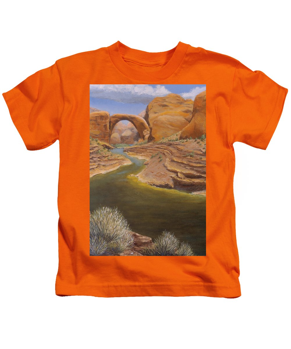 Rainbow Bridge Kids T-Shirt featuring the painting Rainbow Bridge by Jerry McElroy