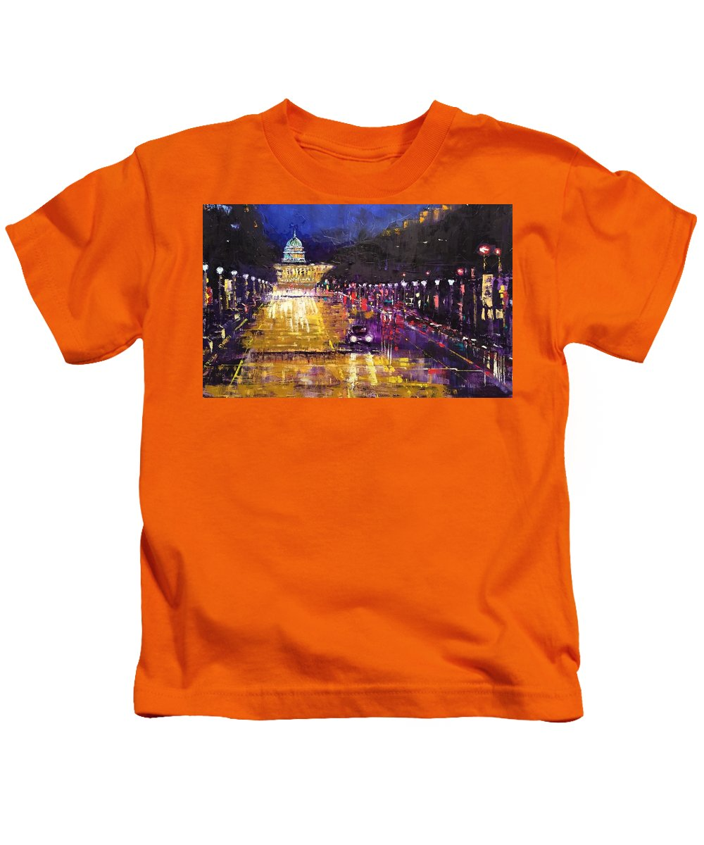Landscape Kids T-Shirt featuring the painting Rainy Evening On Pennsylvania Avenue by Heike Gramckow