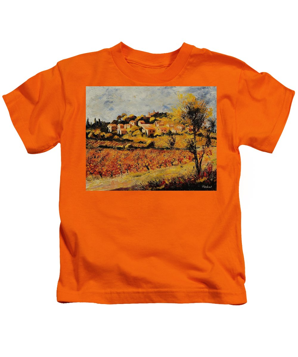 Provence Kids T-Shirt featuring the painting Rasteau Vaucluse by Pol Ledent