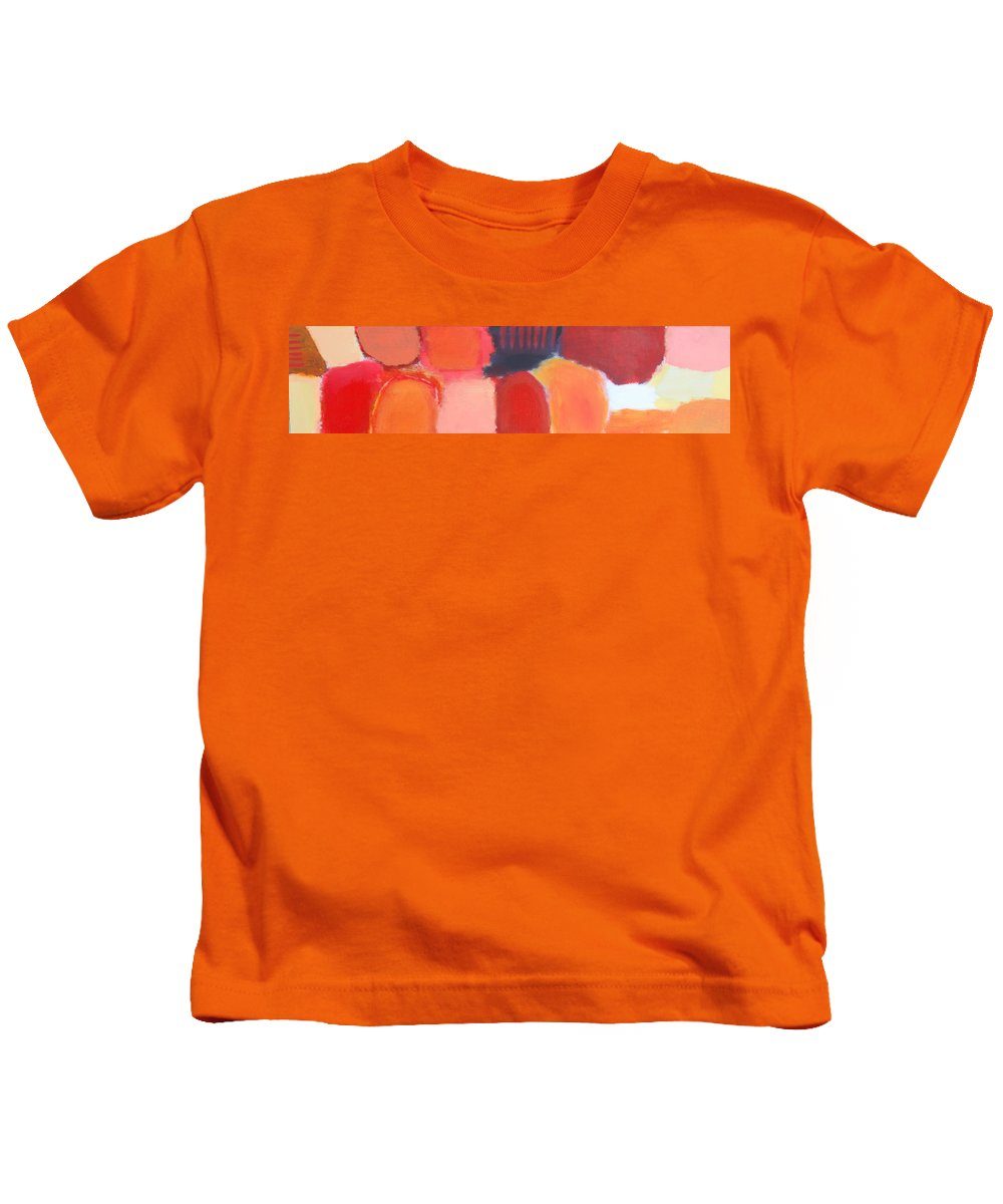 Abstract Kids T-Shirt featuring the painting Red Combination by Habib Ayat