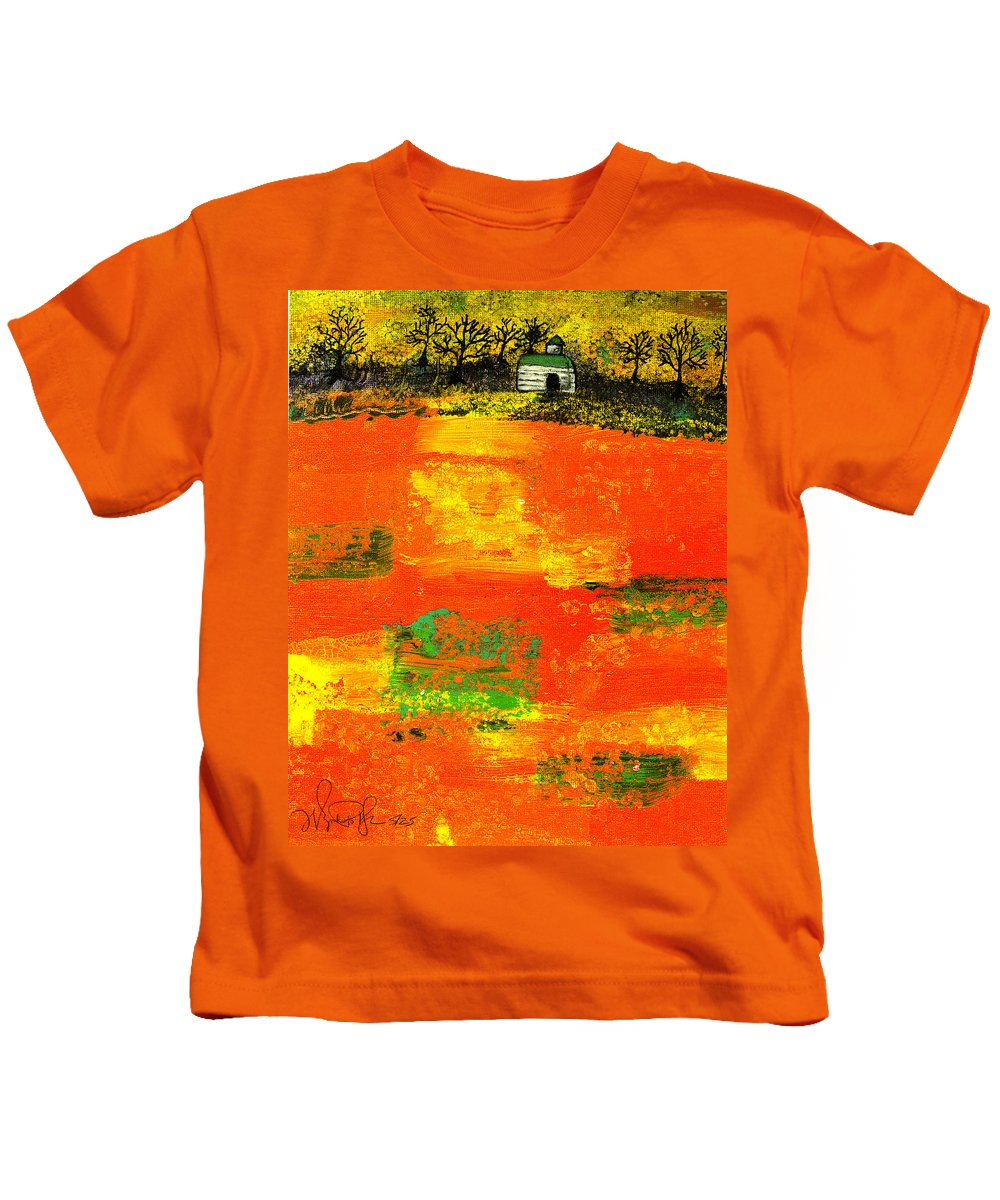 Rural Kids T-Shirt featuring the painting Red Fields by Wayne Potrafka