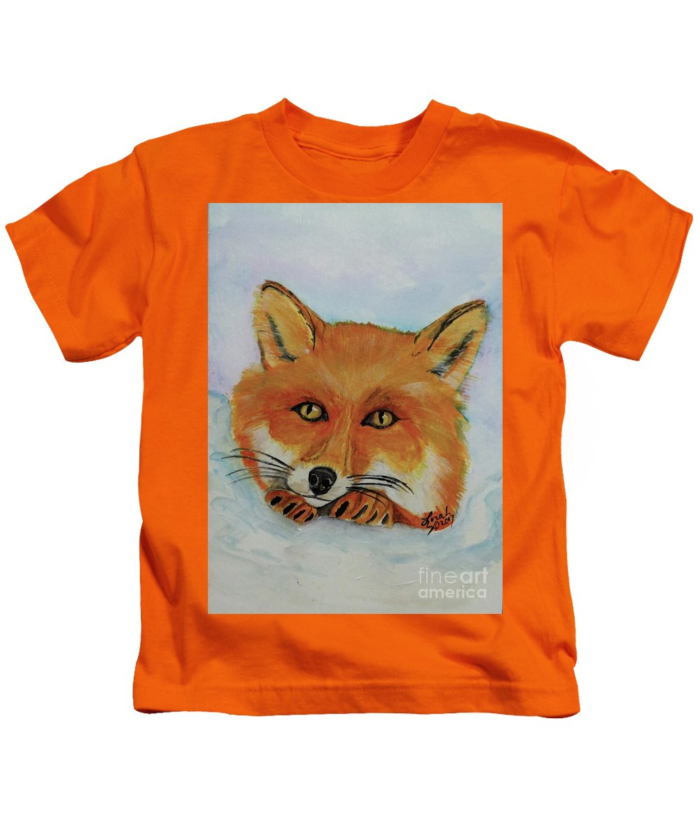 Fox Kids T-Shirt featuring the painting Red Fox by Lorah Tout