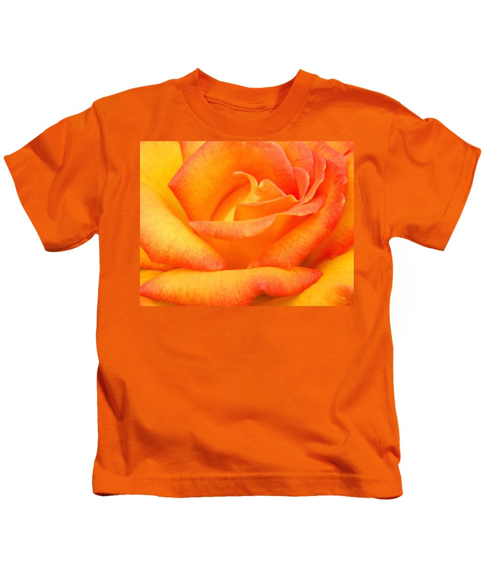 Rose Kids T-Shirt featuring the photograph Red Gold Rose by Will Borden