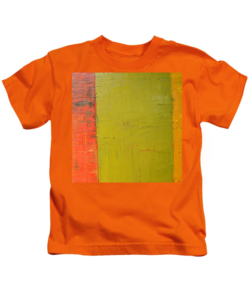 Red Kids T-Shirt featuring the painting Red Green Yellow by Michelle Calkins