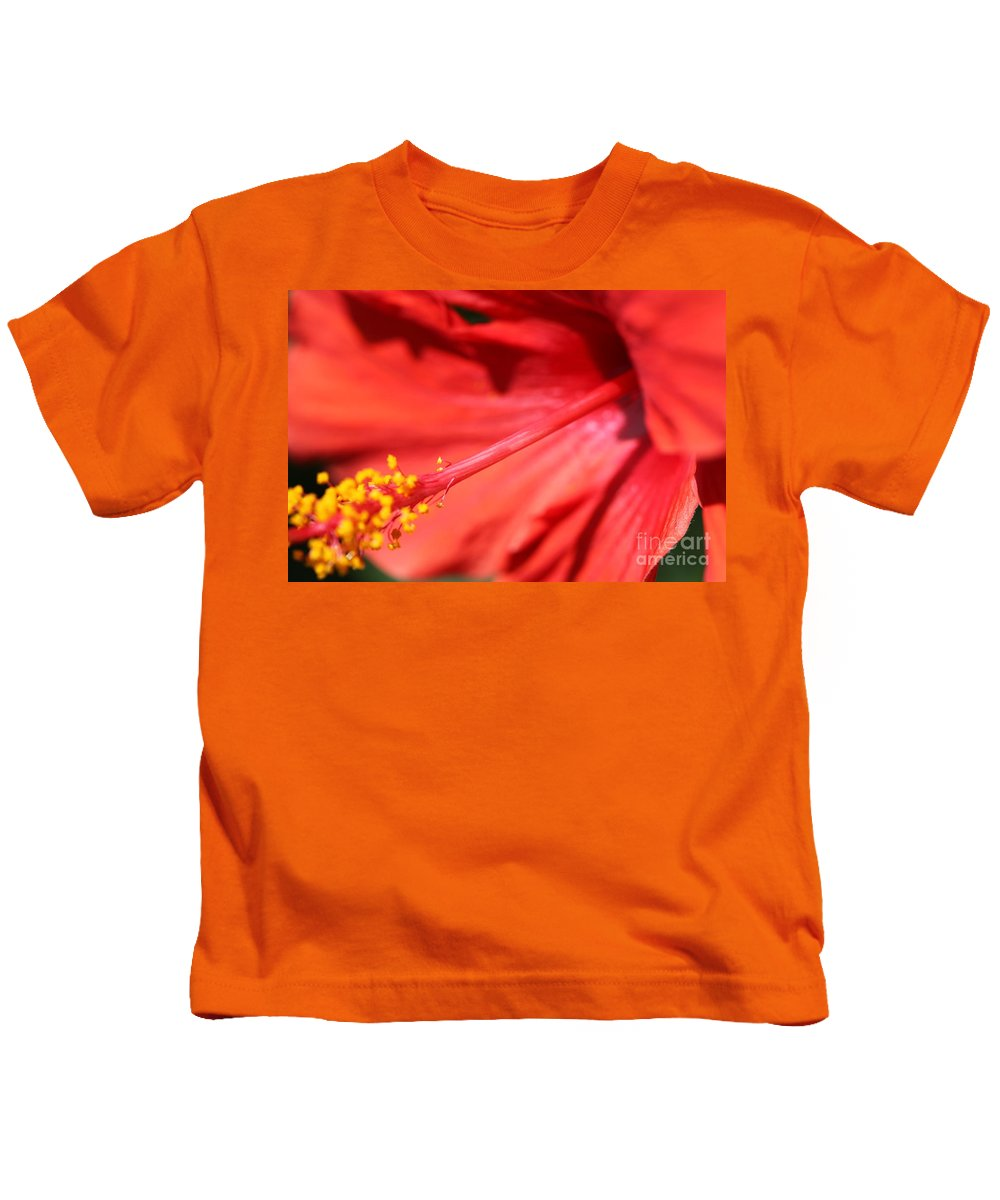 Red Kids T-Shirt featuring the photograph Red Hibiscus by Nadine Rippelmeyer