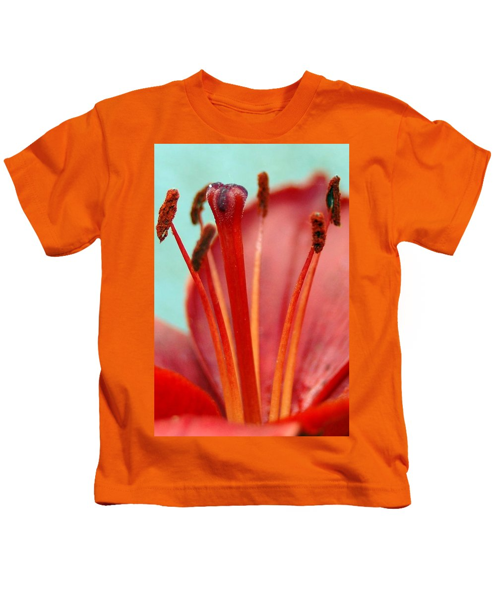 Flower Kids T-Shirt featuring the photograph Red Lily Reach by Amy Fose