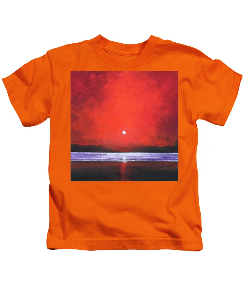 Red Kids T-Shirt featuring the painting Red Night by Toni Grote