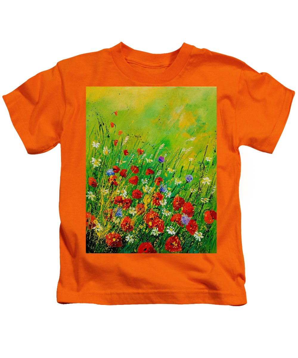 Flowers Kids T-Shirt featuring the painting Red Poppies 450708 by Pol Ledent