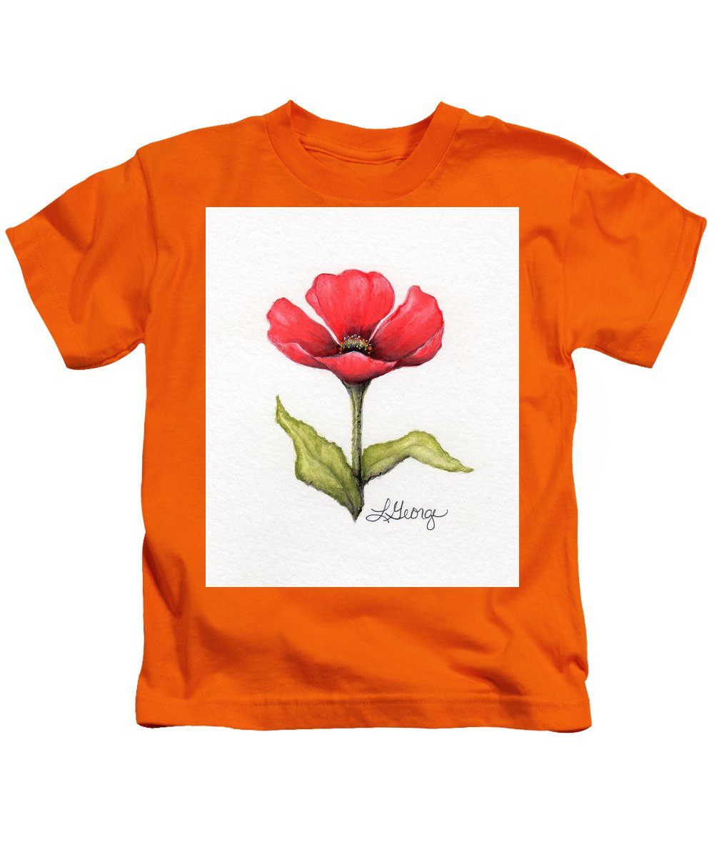 Poppy Kids T-Shirt featuring the painting Red Poppy by Lisa George