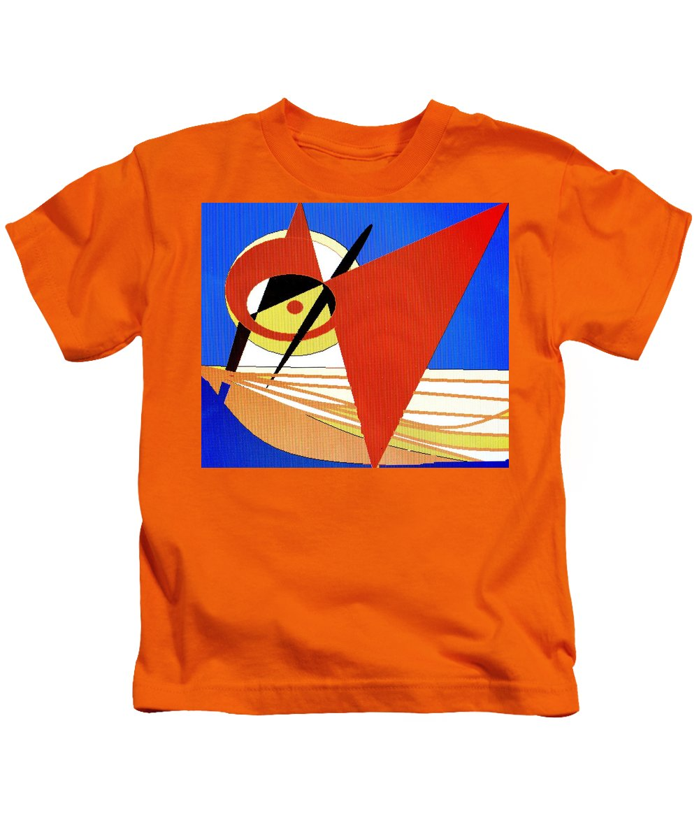 Boat Kids T-Shirt featuring the digital art Red Sails In The Sunset by Ian MacDonald