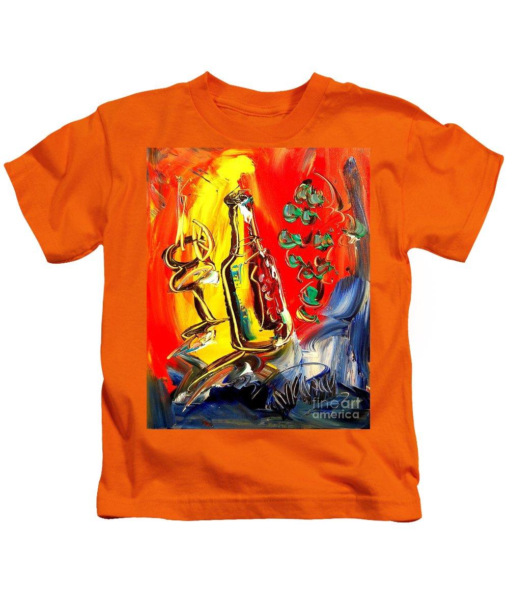 Kids T-Shirt featuring the digital art Red Wine by Mark Kazav