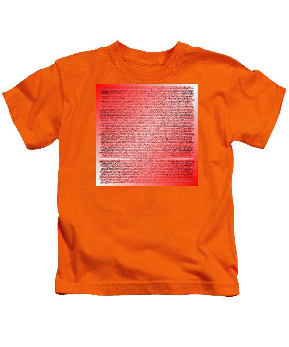 Rithmart Red Pink Purple Computer Brush Strokes Lines Gradient White Dark Bright Kids T-Shirt featuring the digital art Red.4 by Gareth Lewis