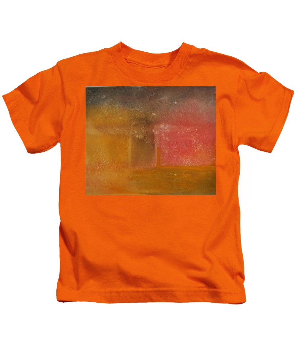 Storm Summer Red Yellow Gold Kids T-Shirt featuring the painting Reflection Summer Storm by Jack Diamond