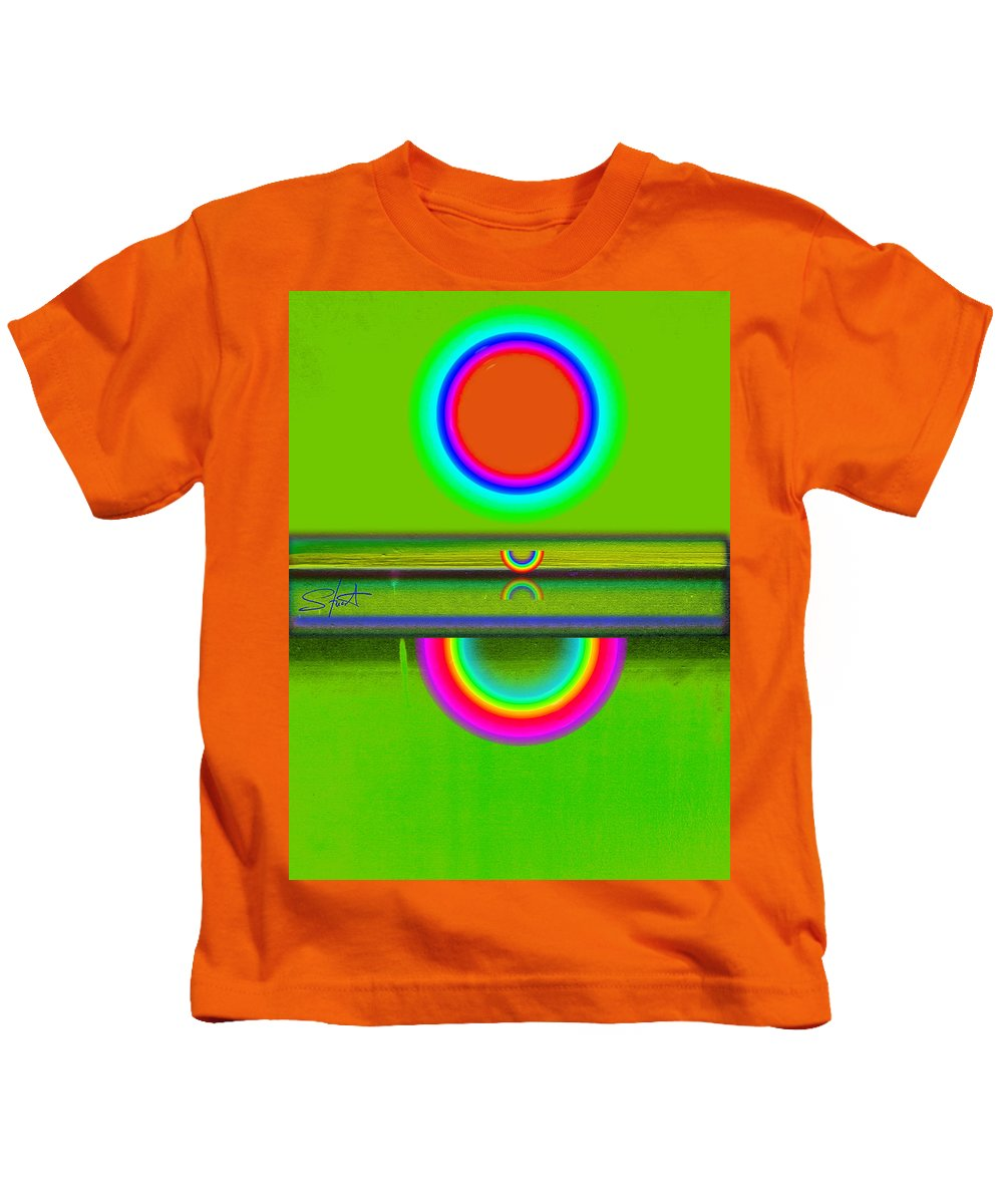 Reflections Kids T-Shirt featuring the painting Reflections On Green by Charles Stuart