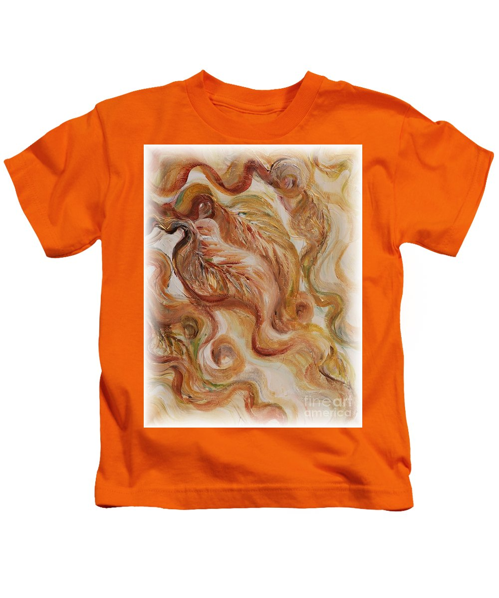 Leaves Kids T-Shirt featuring the painting Reflective Leaves by Nadine Rippelmeyer
