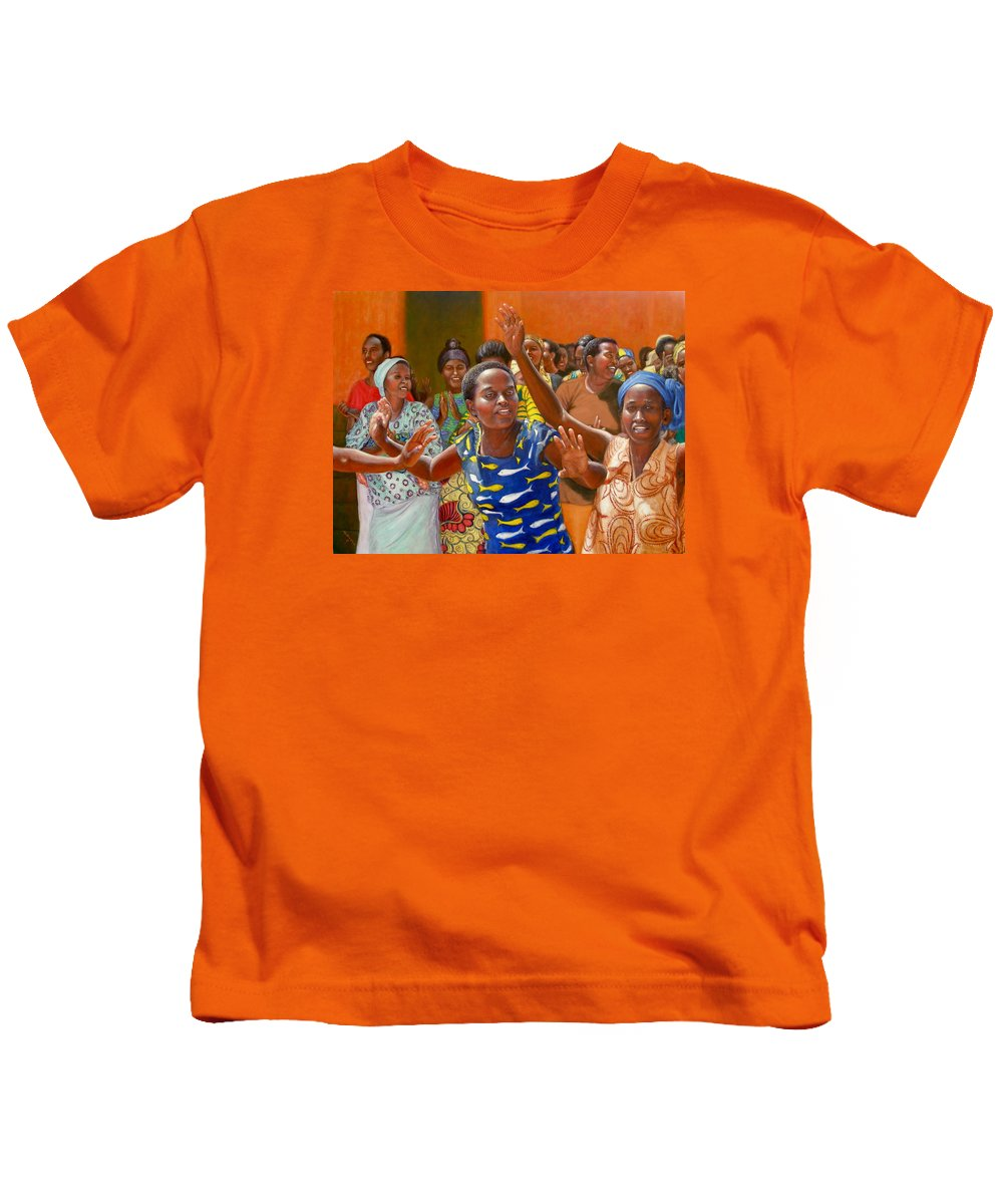 Realism Kids T-Shirt featuring the painting Rejoice by Donelli DiMaria
