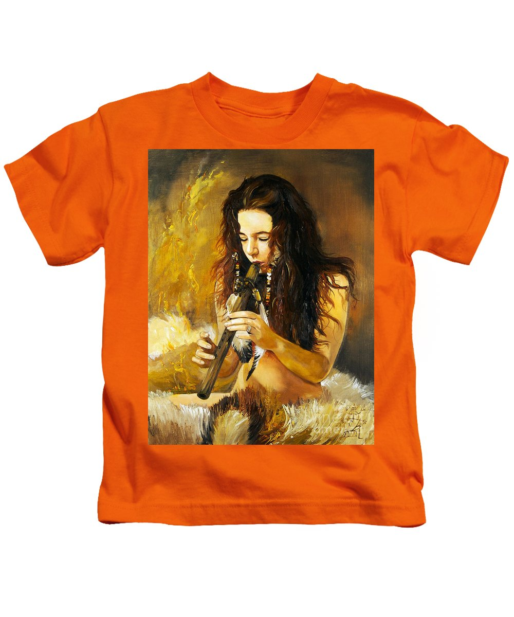 Woman Kids T-Shirt featuring the painting Release by J W Baker
