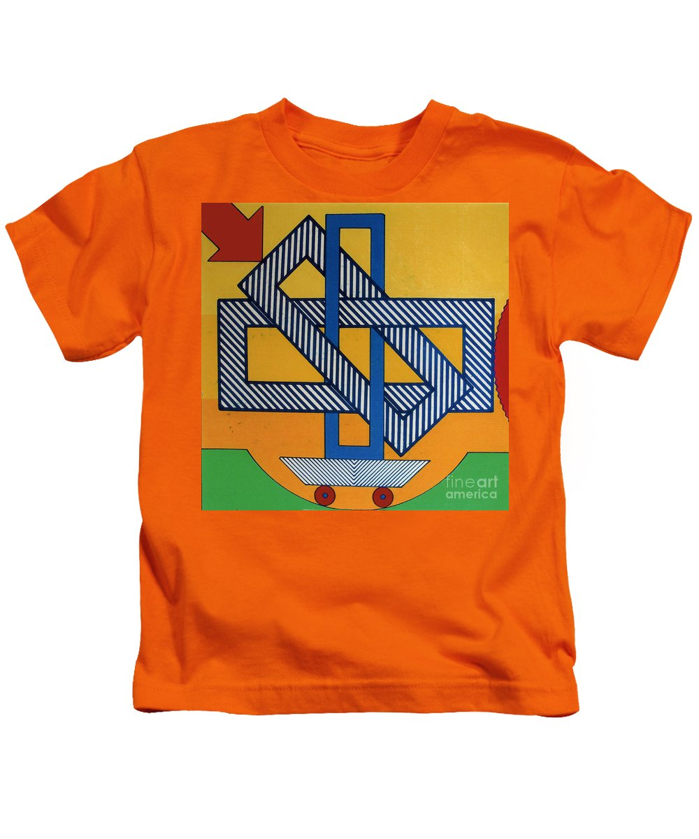 Rectangled Kids T-Shirt featuring the drawing Rfb0607 by Robert F Battles