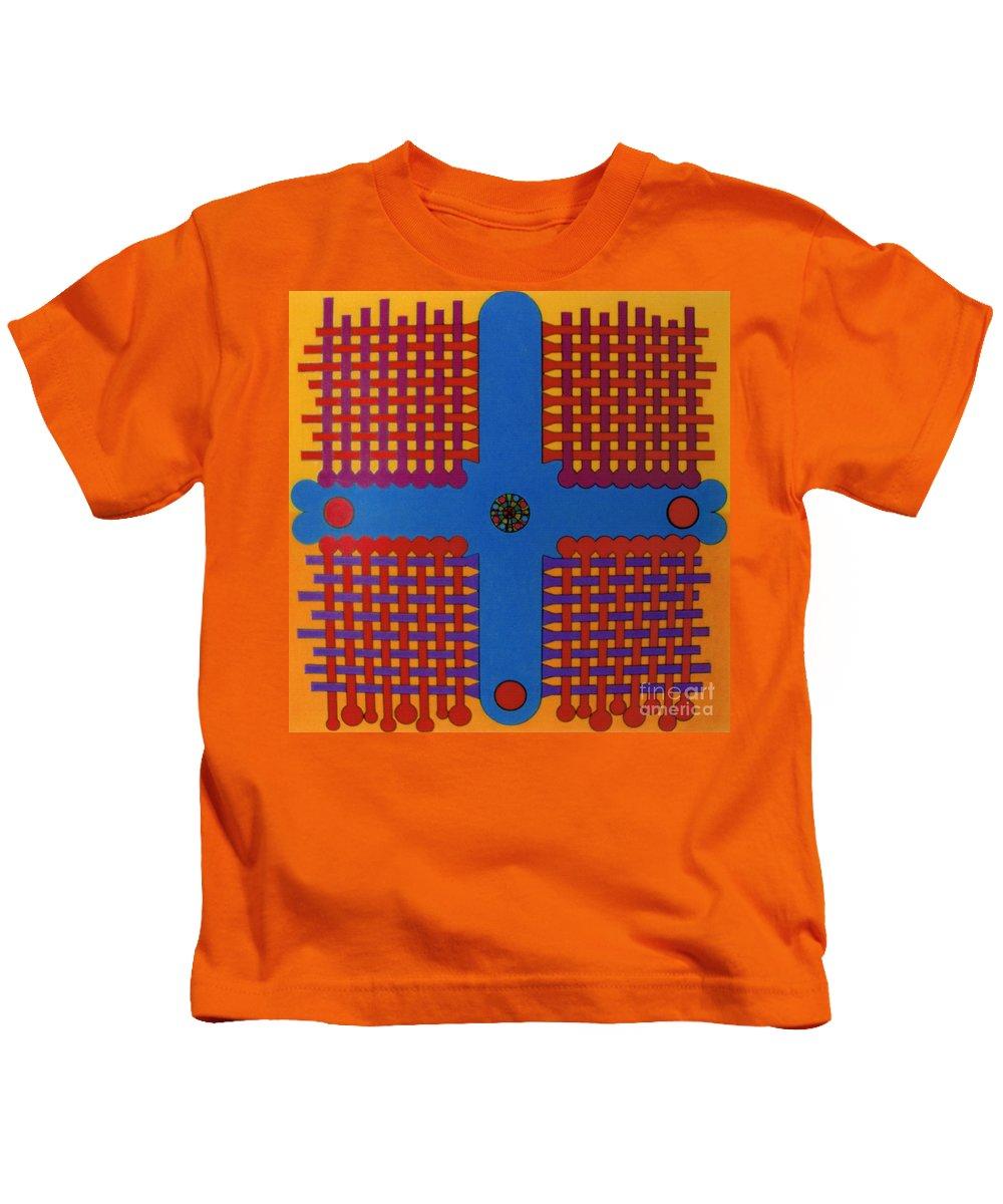 Woven Cross Kids T-Shirt featuring the drawing Rfb0807 by Robert F Battles