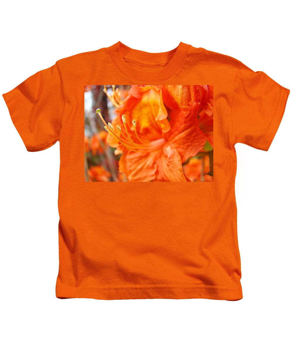 Rhodie Kids T-Shirt featuring the photograph Rhodies Art Prints Orange Rhododendron Flowers Baslee Troutman by Baslee Troutman