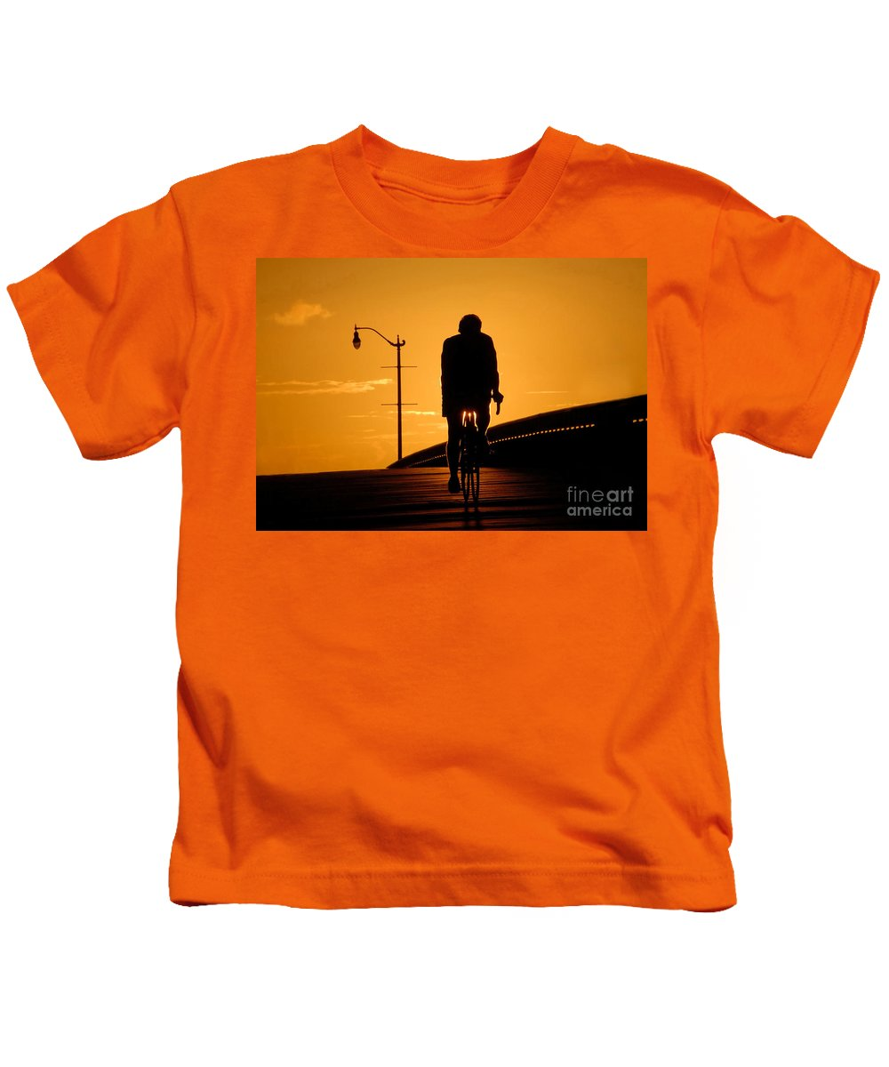 Bicycle Kids T-Shirt featuring the photograph Riding At Sunset by David Lee Thompson