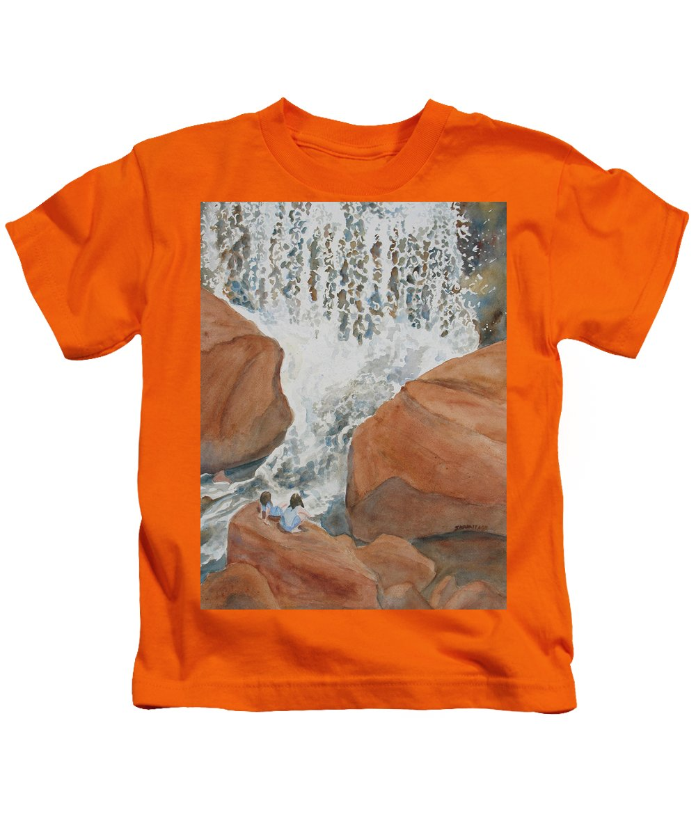 Falls Kids T-Shirt featuring the painting Ring Side Seats II by Jenny Armitage