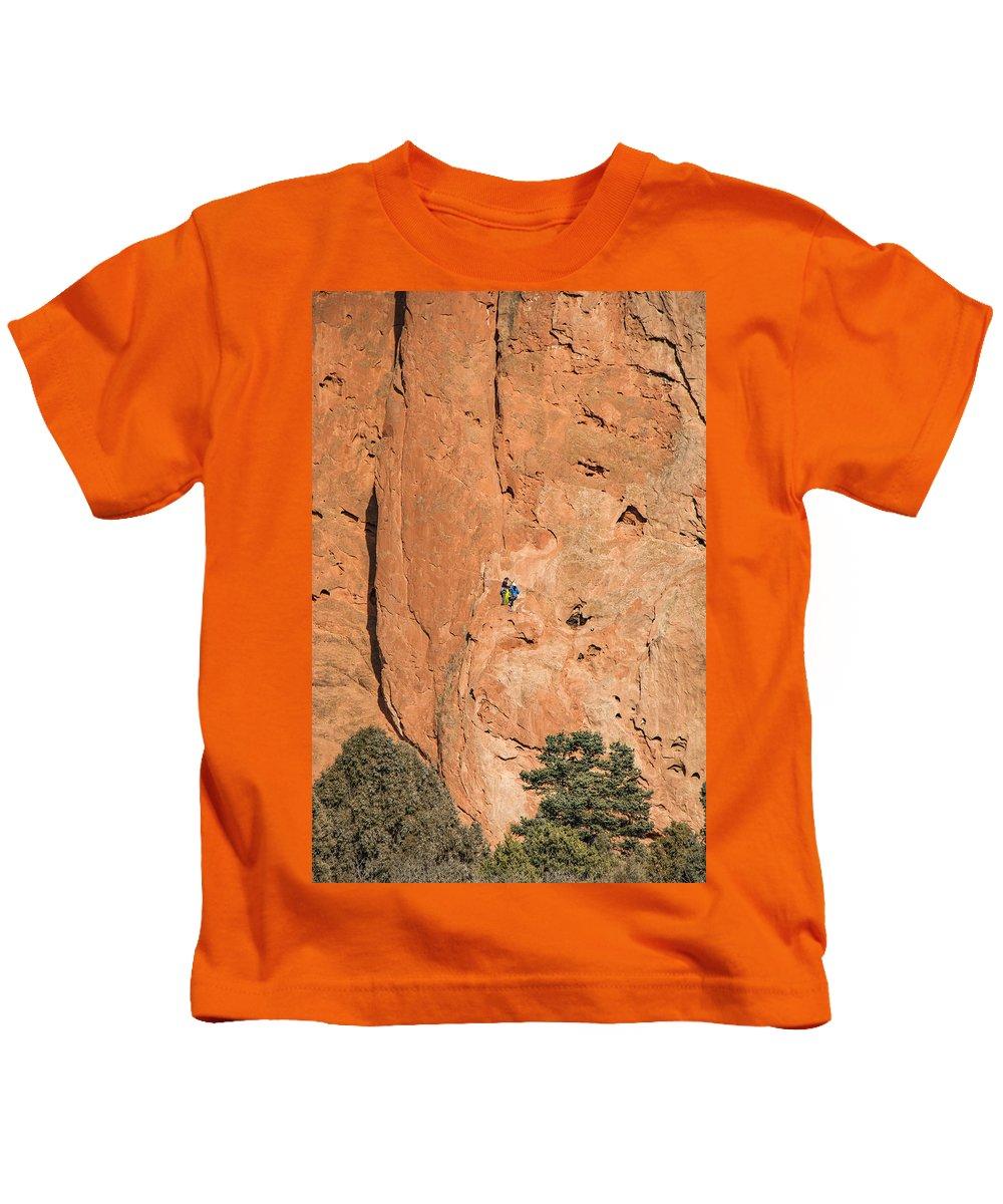 Colorado Kids T-Shirt featuring the photograph Rock Climbers by Edie Ann Mendenhall