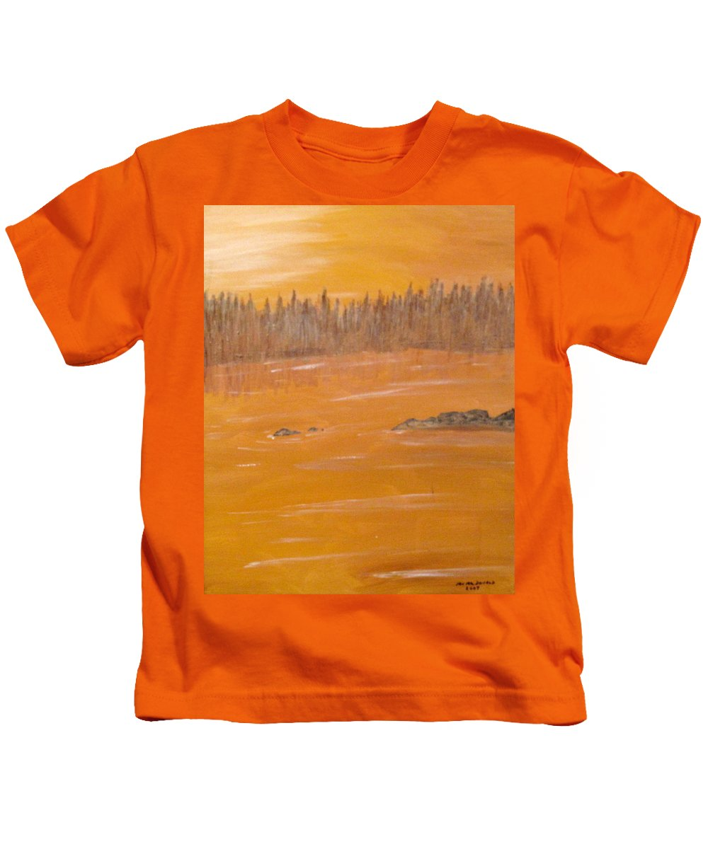 Northern Ontario Kids T-Shirt featuring the painting Rock Lake Morning 2 by Ian MacDonald