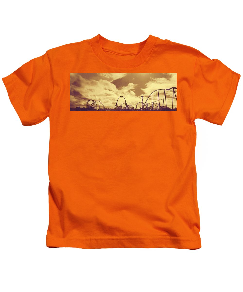 Roller Coaster Rides Kids T-Shirt featuring the photograph Roller Coaster Rides by Peggy Leyva Conley
