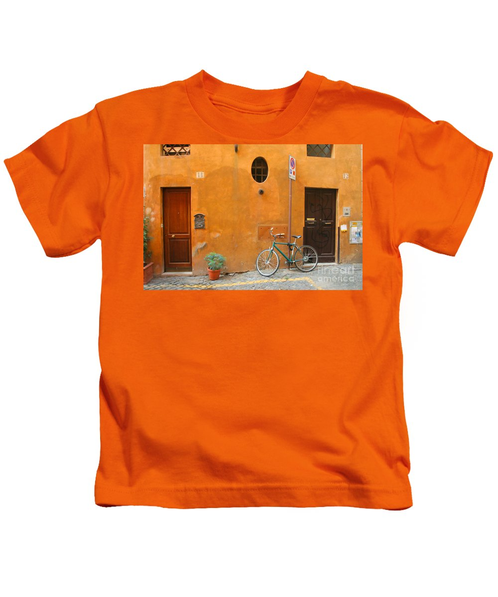 Rome Kids T-Shirt featuring the photograph Roman Doors by Thomas Marchessault