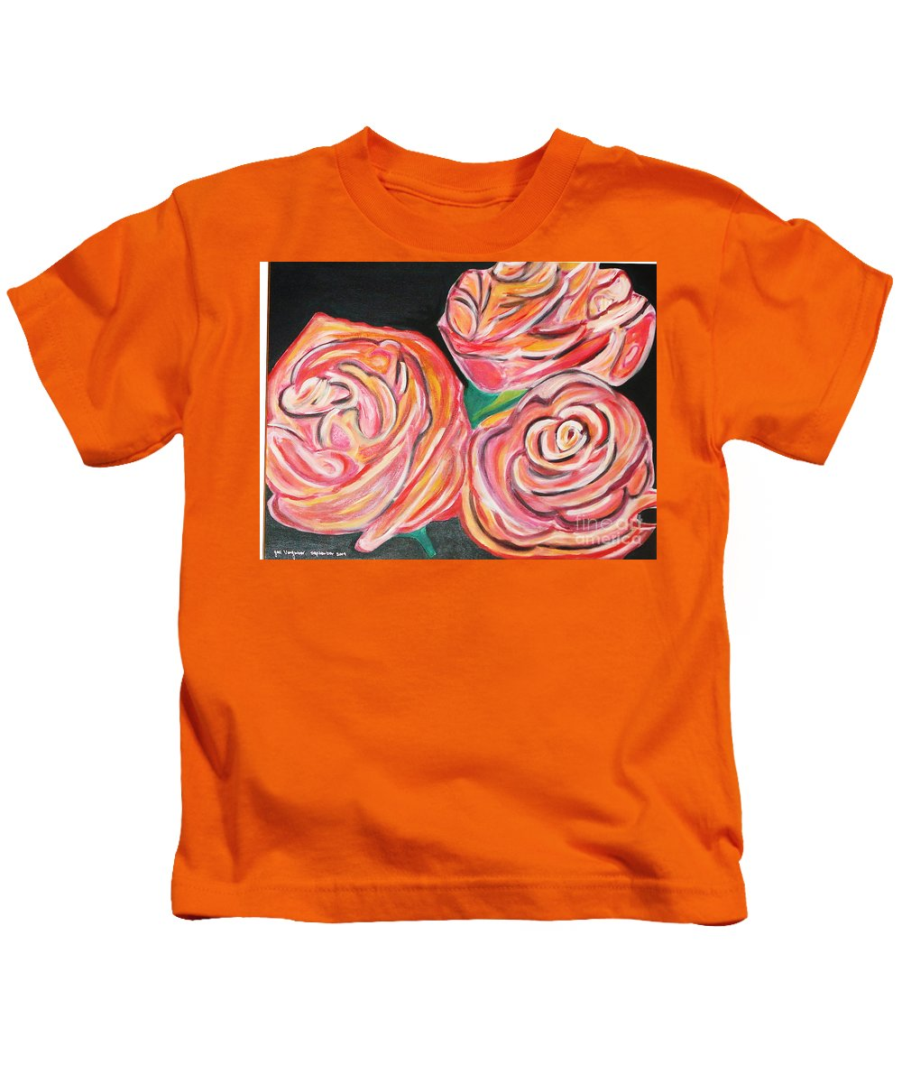 Acrylic Painting Kids T-Shirt featuring the painting Romantic by Yael VanGruber
