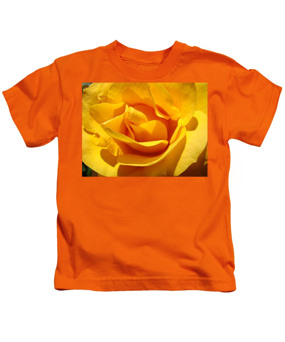 Rose Kids T-Shirt featuring the photograph Rose Flower Orange Yellow Roses 1 Golden Sunlit Rose Baslee Troutman by Baslee Troutman