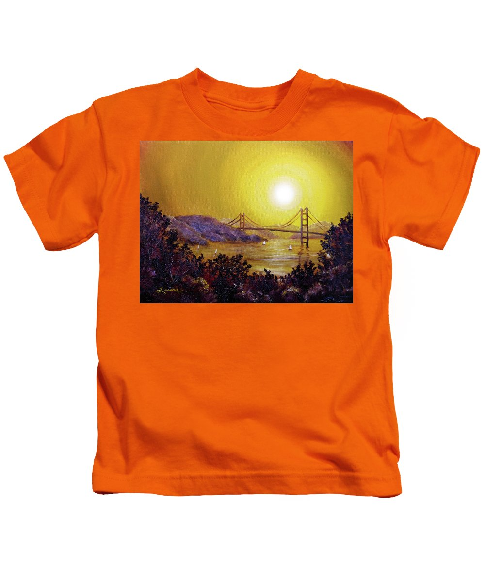 San Francisco Kids T-Shirt featuring the painting San Francisco Bay In Golden Glow by Laura Iverson
