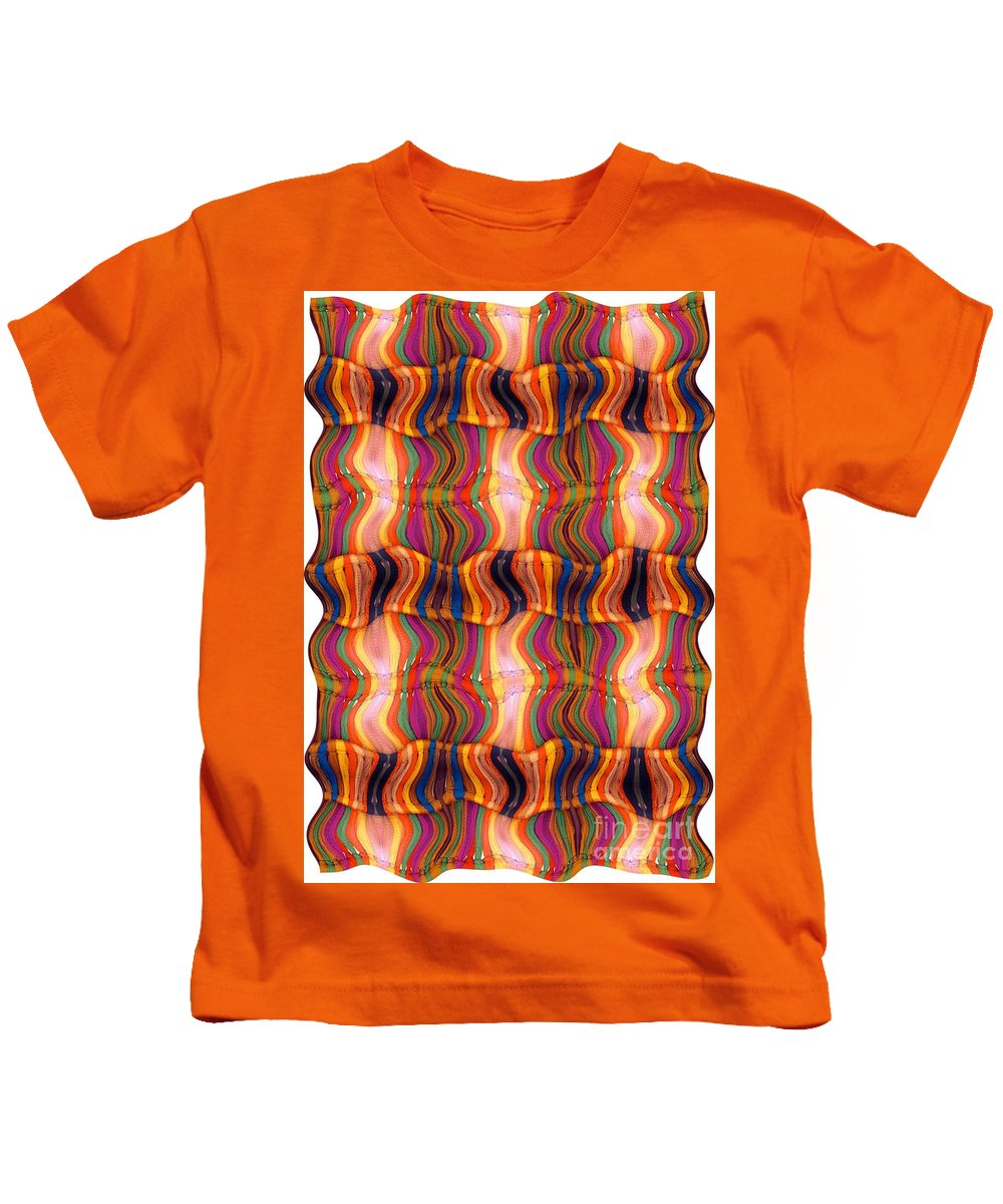 Abstract Kids T-Shirt featuring the digital art Scarf It Up by Ron Bissett
