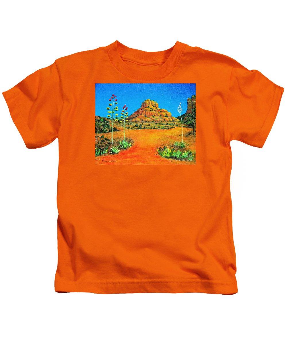 Sedona Kids T-Shirt featuring the painting Sedona Bell Rock by Jerome Stumphauzer
