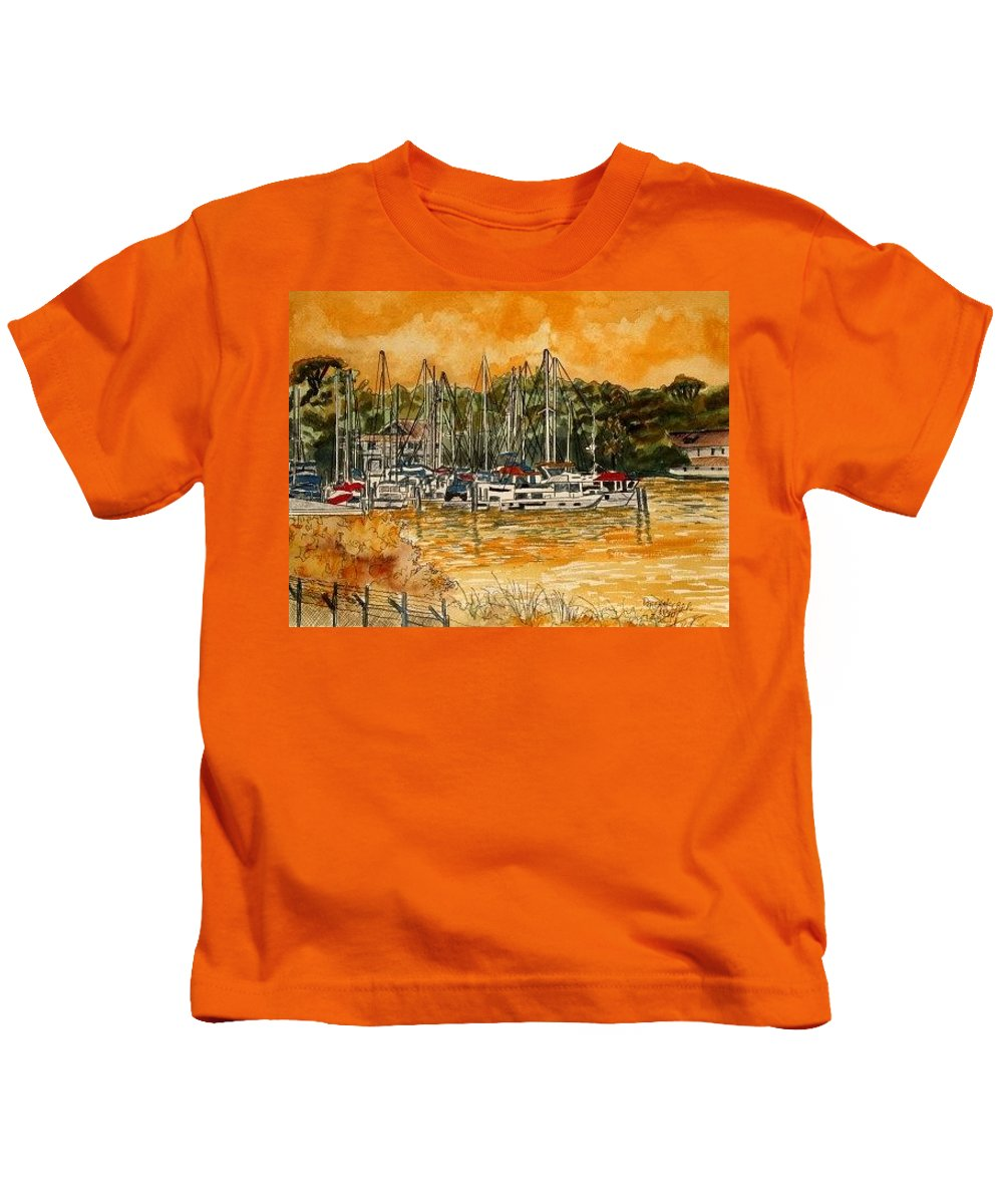 Sailboat Kids T-Shirt featuring the painting Sienna Sky Boat Marina Nautical Art by Derek Mccrea