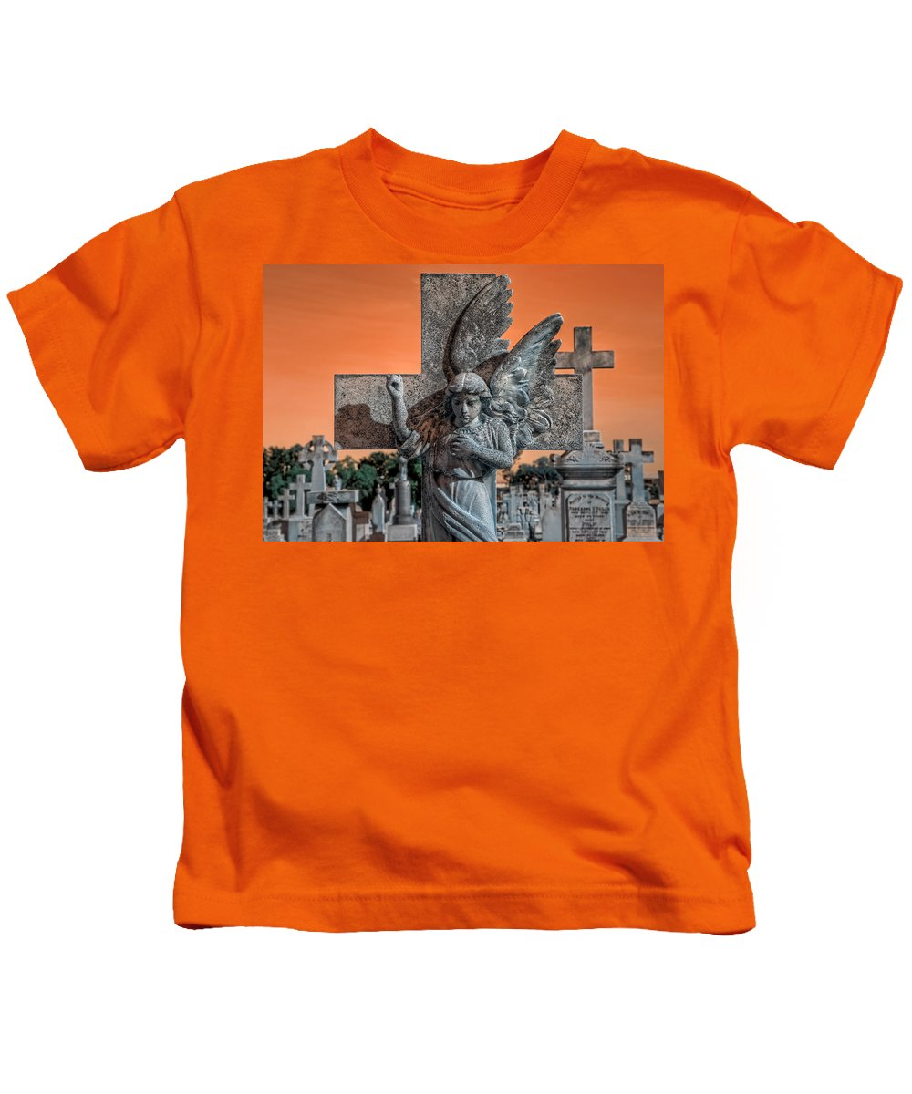 Cemetary Kids T-Shirt featuring the photograph Silent Vigil by Wayne Sherriff