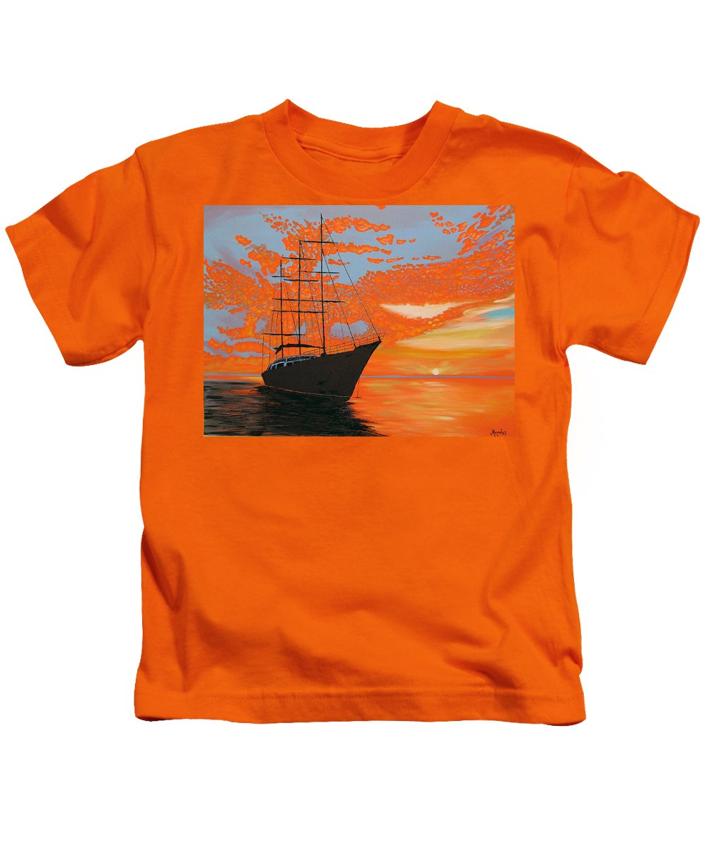 Seascape Kids T-Shirt featuring the painting Sittin' on the Bay by Marco Morales